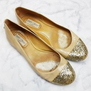 Jimmy Choo|See Description Glitter Toe Flats